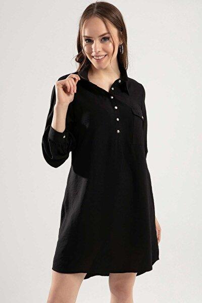 Kadın Çıtçıt Düğmeli Cepli Tunik Y20s110-5699