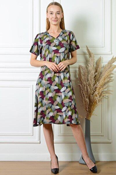 Kadın Yaprak Desenli Karışık Düğme Detaylı Büyük Beden Elbise Pmel25313