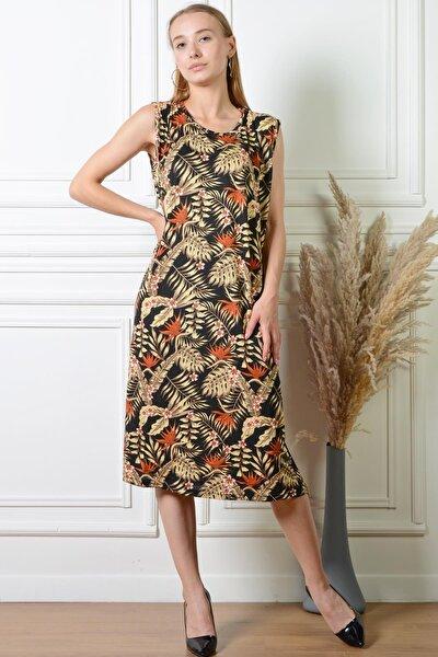 Kadın Yaprak Desenli Siyah Rahat Kesim Büyük Beden Elbise Pmel25319