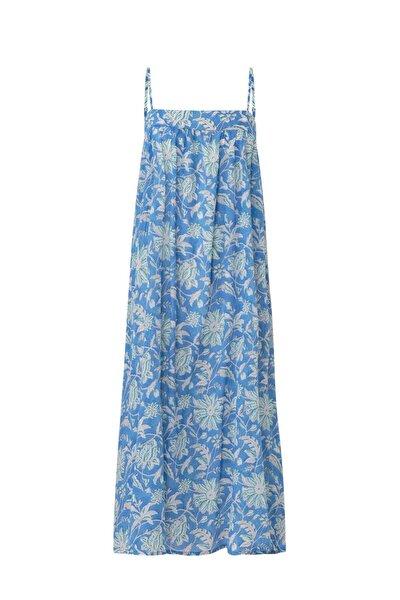 %100 Pamuklu Çiçek Desenli Askılı Uzun Elbise
