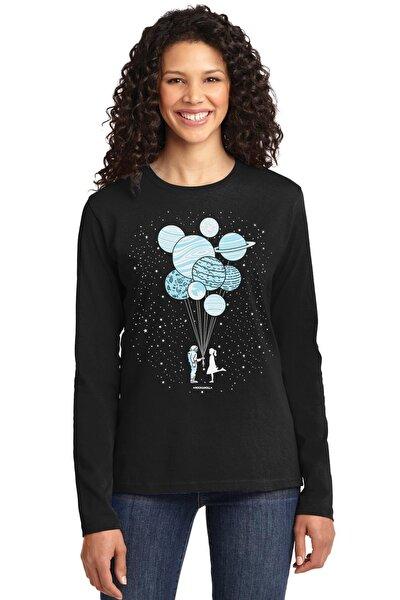 Kadın Siyah Balon Gezegenler Bisiklet Yaka Uzun Kollu Penye T-shirt