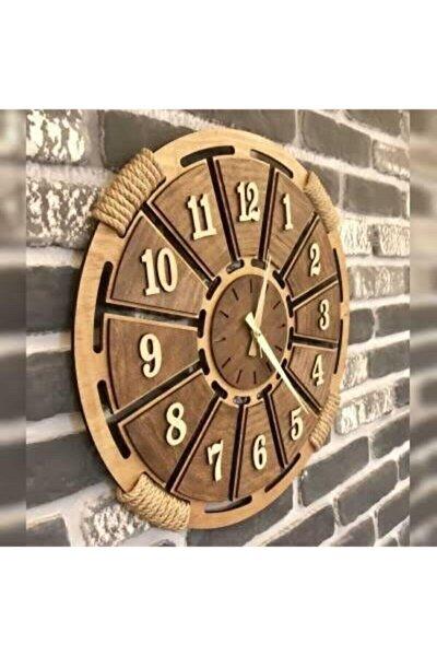 Pi10 Ahşap Duvar Saati Hasır Detaylı