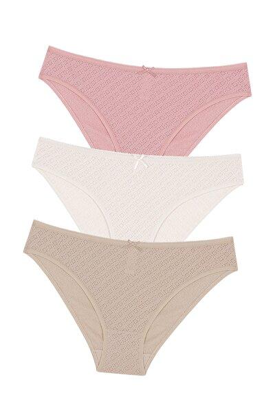 Çok Renkli Soft Pointel Nude Colors 3lü Slip Külot