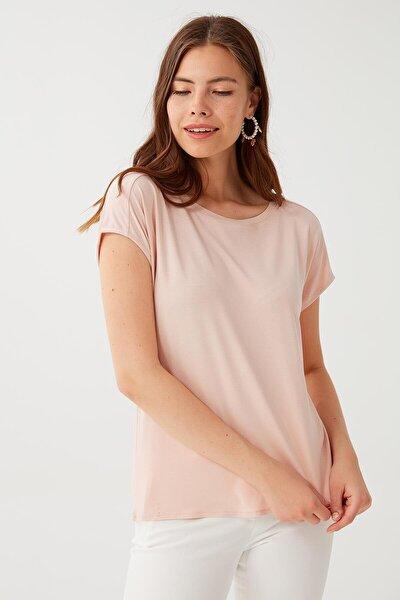 Kadın Pembe Balen Yaka Kısa Kol T-shirt