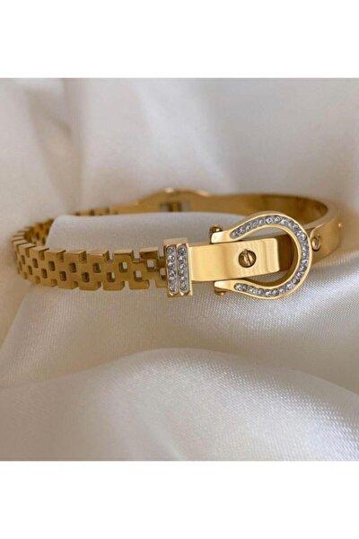Kemer Model Taşlı Çelik Üzeri Altın Kaplama Kadın Bileklik Bilezik Gold Garanti Belgeli