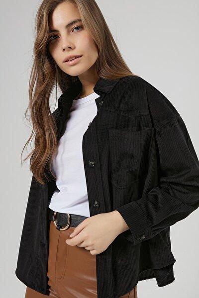 Kadın Siyah Cep Detaylı Fitilli Kadife Gömlek P20W-3333