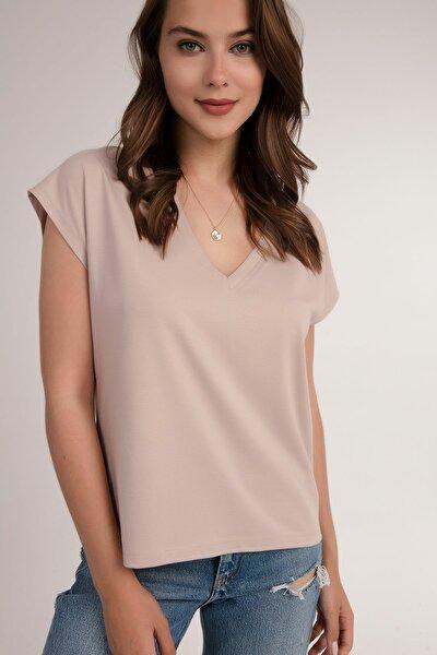 Kadın Vizon V Yaka Basic Tişört P21s201-2658