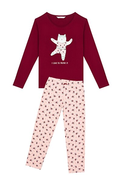 Çok Renkli Gym Cat Pijama Takımı