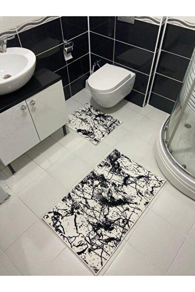 2'li Modern Banyo Paspas Seti Amor Beyaz