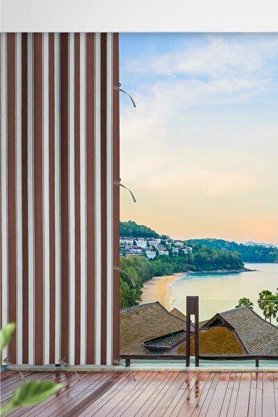 Kahverengi Çizgili Balkon Brandası