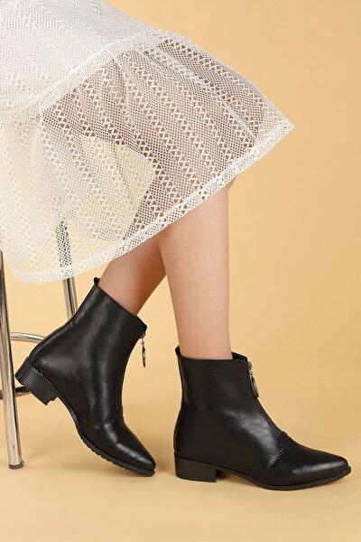 Kadın Siyah Cilt Fermuarlı Termo Taban Bot Ayakkabı 007-02