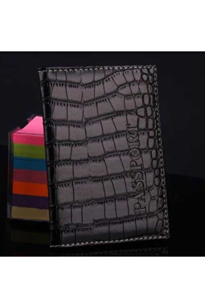 Unisex Siyah Kabartmalı Yumuşak Deri Pasaport Kılıfı