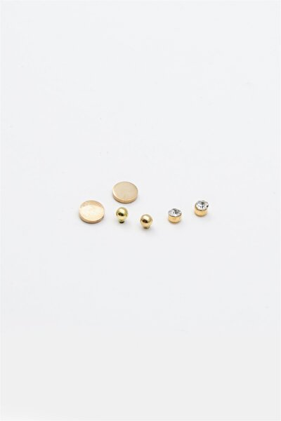 Yuvarlak Figürlü Zirkon Taşlı Çoklu Küpe Gold Renk