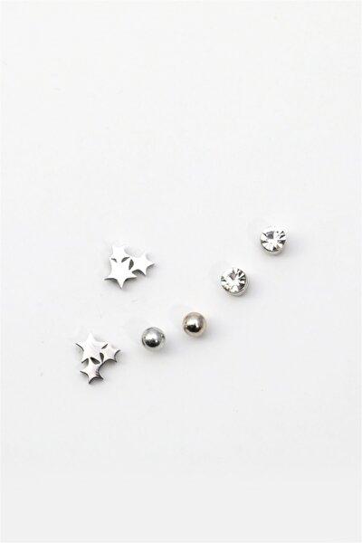 3 Yıldız Figürlü Zirkon Taşlı Çoklu Küpe 071 Silver Renk