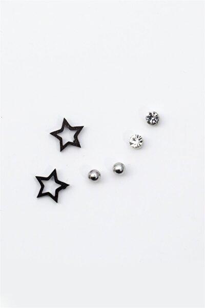 Yıldız Figürlü Zirkon Taşlı Çoklu Küpe 082 Siyah