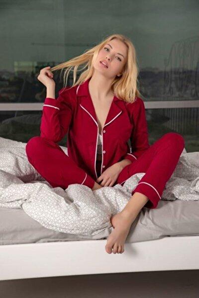 Kadın Bordo Pamuklu Likralı Düğmeli Biyeli Pijama Takımı - Bordo