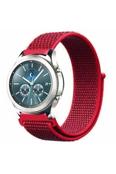 Samsung Galaxy Watch 3 46mm 46mmsaat Kayışı Kaliteli Hasır Örme Kordon Kayış Kırmızı