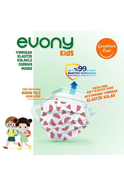 Elastik Kulaklı Evony Kids Çocuk Maske 160 Adet