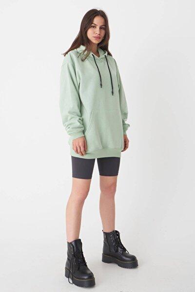 Kadın Mint Kapşonlu Oversize Sweat S0925 - N4 - P3 ADX-0000022256