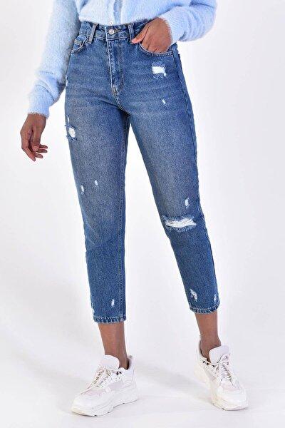 Kadın Kot Rengi Yırtık Detaylı Pantolon