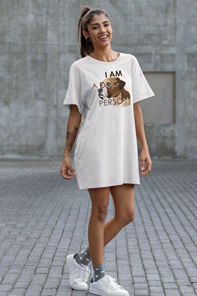 Kadın Beyaz Wear I Am A Dog Person Pamuklu T-shirt Elbise