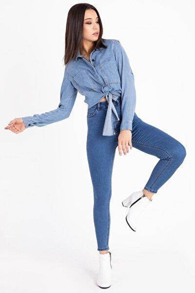Kadın Cepli Yüksek Bel Dar Paça Kot Pantolon