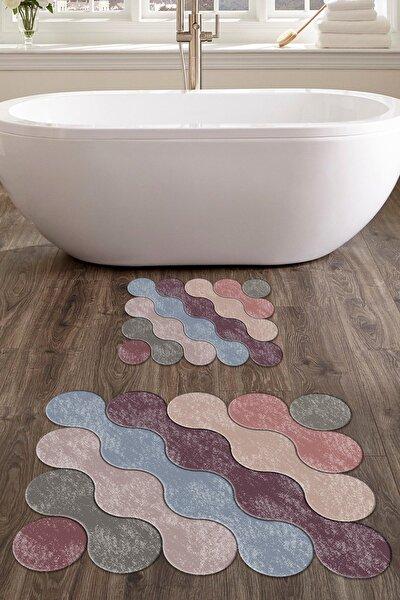 60x90 - 50x60 Dijital Baskılı Lazer Kesim Banyo Paspası 2'li Set