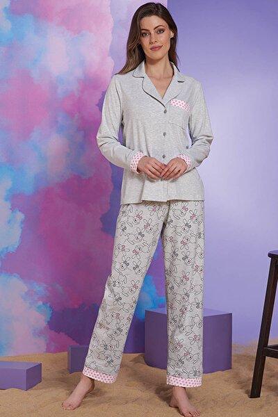 Kadın Kar Melanj Düğmeli Pijama Takım
