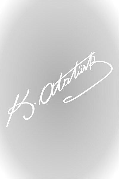 Beyaz 20 Cm Kemal Atatürk Imza Sticker Araba, Oto Araç Sticker