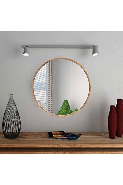 Yuvarlak Ceviz Duvar Salon Ofis Aynası 60 cm