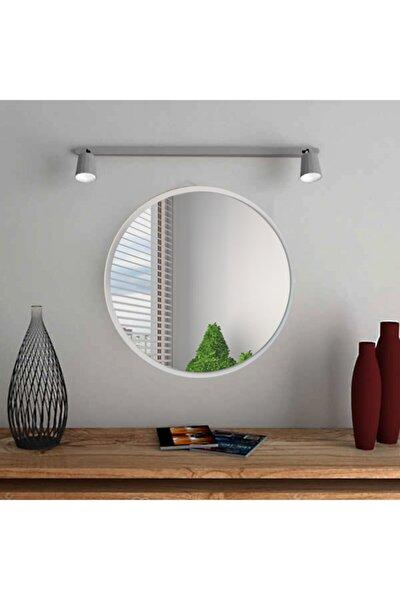 Beyaz Yuvarlak Duvar Salon Ofis Aynası 60 cm