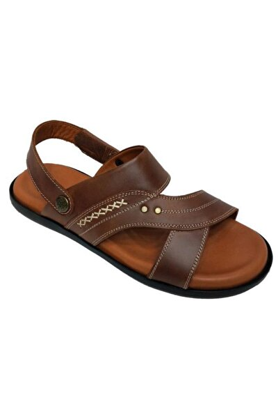 Erkek Kahverengi Hakiki Deri Ortopedik Sandalet