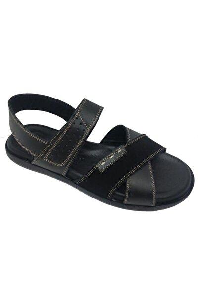 Erkek Siyah Hakiki Deri Ortopedik Sandalet