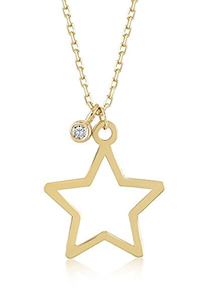 Kadın Altın Diamond Pırlantalı Tek Yıldız Kolye