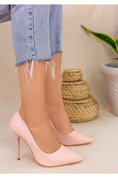 Kadın Pudra Klasik Stiletto Ayakkabı