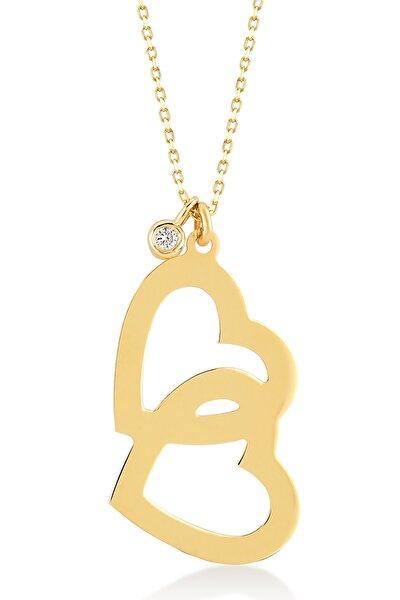 Kadın Altın Diamond 14 Ayar Altın Pırlanta Çift Kalp Kolye