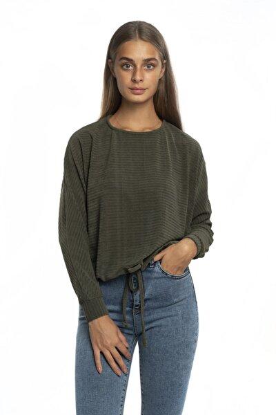 Kadın Yeşil Eteği Bağlamalı Bluz