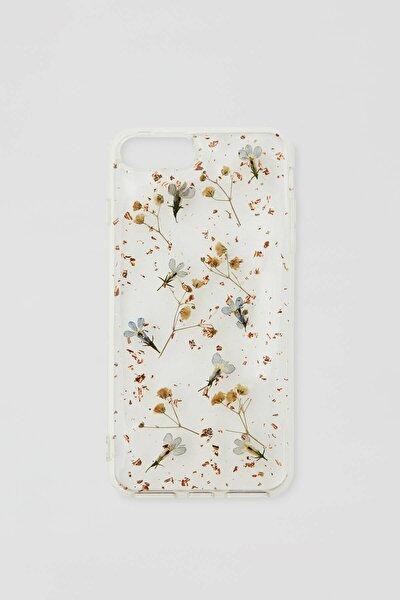 Mavi Kurutulmuş Çiçek Desenli Cep Telefonu Kılıfı 09971347