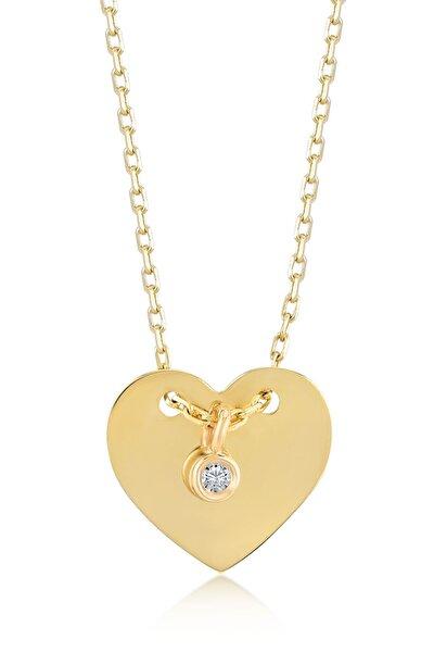 Kadın Altın 14 Ayar Klasik Pırlantalı Kalp Kolye