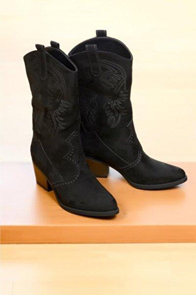 Kadın Siyah Çizme Modelleri Kovboy Bot 100