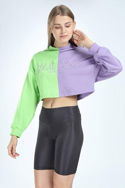 Kadın Mor Çift Renkli Crop Sweatshirt