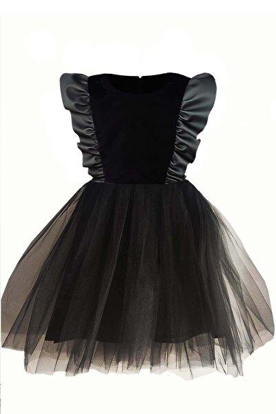 Kız Çocuk Siyah Deri Detaylı Tütü Elbise