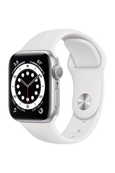 Watch Series 6 Gps 44 Mm Gümüş Rengi Alüminyum Kasa Ve Beyaz Spor Kordon