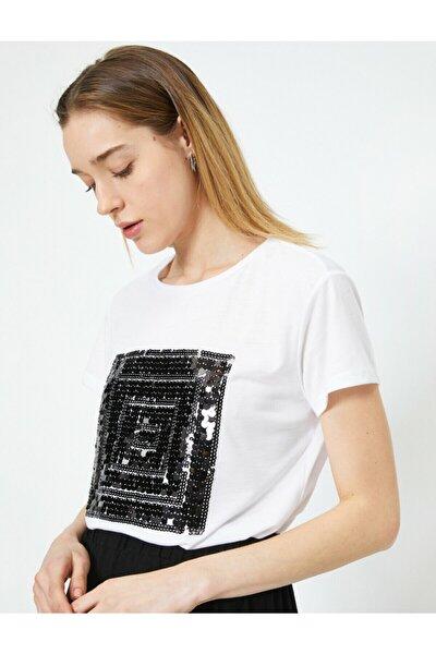 Kadın Ekru Baskılı T-Shirt