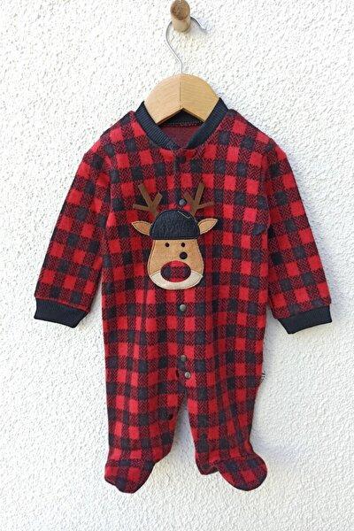 Unisex Bebek Kırmızı Ekose Desenli Geyik Baskılı Tulum