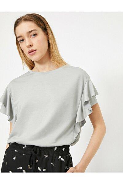 Kadın Gri Fırfır Detaylı T-shirt