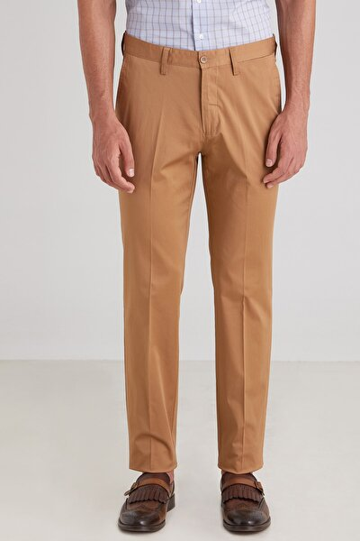 Camel Düz Pamuklu Saten Erkek Pantolon - Regular Fıt