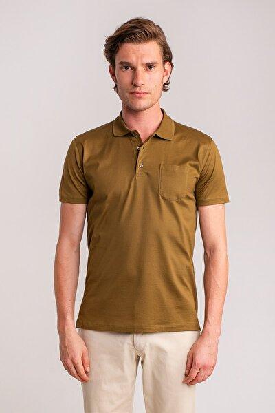 Erkek Haki Düz Polo Yaka Merserize Pamuk T-shirt