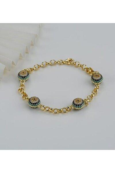 Kadın Gold 925 Ayar Gümüş Göz Nazarlı Trend Bileklik