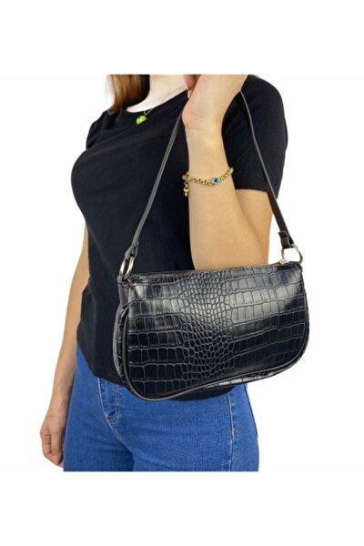 Kadın Siyah Kroko Desen Baguette Çanta
